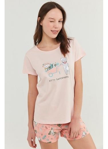 Penti Kadın Açık Pembe Gardener Şort Pijama Takım PNNGFW2U21IY Pembe